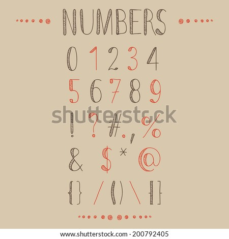 Hand drawn numbers with most common keystrokes: question marks, points, commas, brackets, stars, etc. Easy to use and edit numerals and other signs. - stock vector