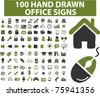 100 hand drawn office & business signs, vector - stock vector
