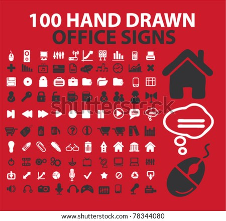 100 hand drawn office signs, icons, vector - stock vector