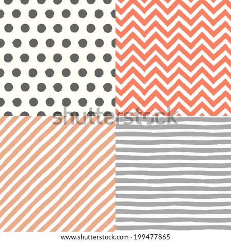 4 hand drawn painted seamless geometric patterns set. Vector illustration - stock vector