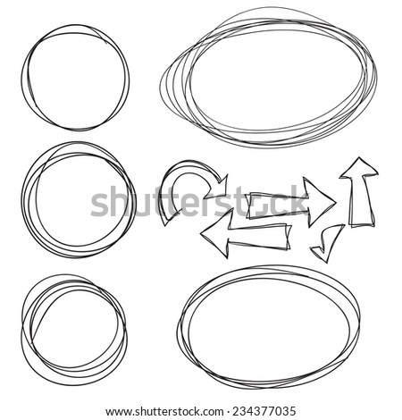 Hand Drawn Scribble Circles, vector design elements - stock vector