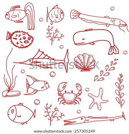 Hand drawn seamless pattern with water creatures. Underwater life texture. Vector illustration.  - stock vector