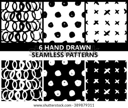 6 hand drawn seamless patterns, vector - stock vector