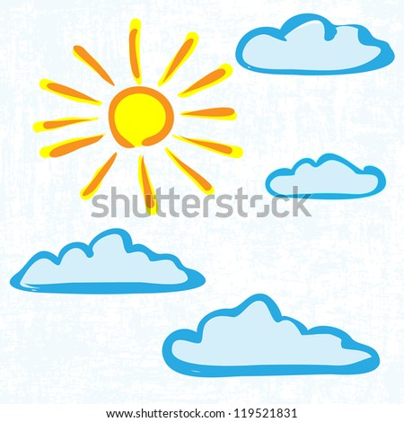 Hand drawn sun with clouds - stock vector