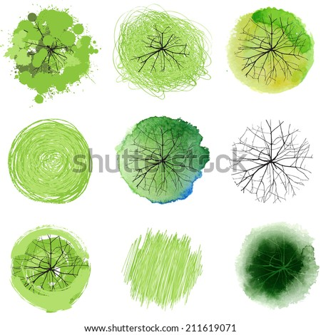 9 hand drawn trees for your landscape designs - stock vector