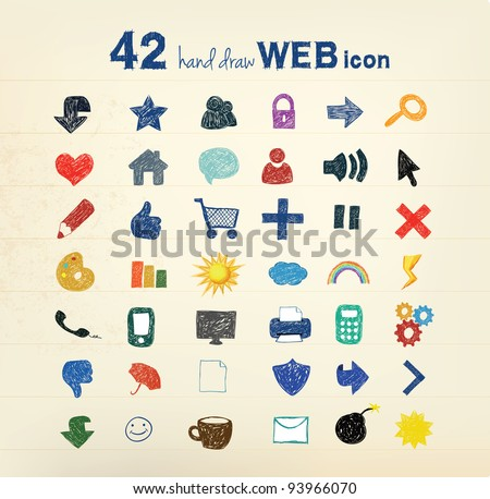 42 hand drawn vector illustration - stock vector