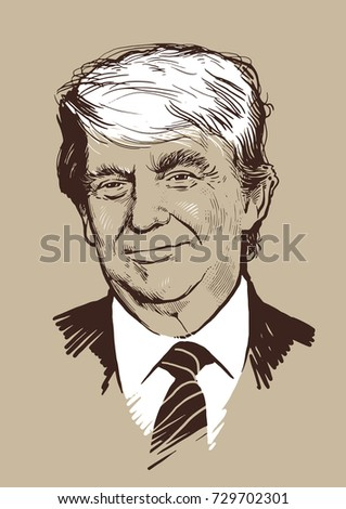 08.10.2017. Hand-drawn vector portrait president of USA Donald Trump. .eps10, editorial use only