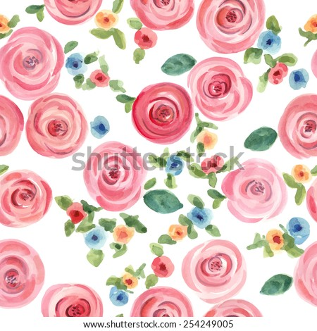 hand drawn watercolor roses and cute little flowers seamless pattern. vector illustration - stock vector