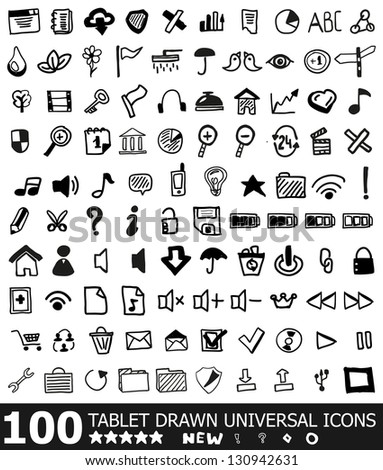 100 hand drawn web universal icons   vector black icon set isolated on white - stock vector