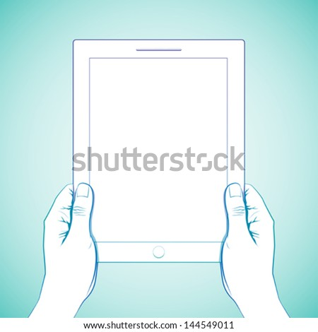 2 Hand holding a 10 inch tablet - stock vector