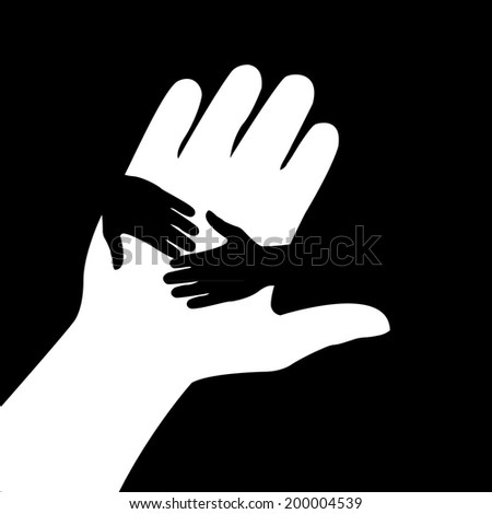 2 Hand in hand illustration in black-and-white colors. Concept of help, assistance and cooperation. - stock vector