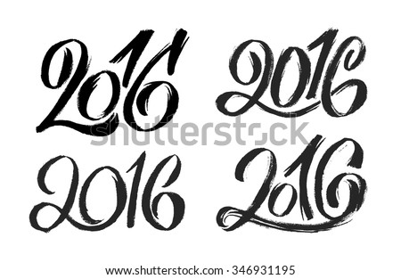 2016 hand lettering numbers design set. Chinese Calligraphic text for Year of the Monkey. Typographic vector inscription isolated on white background - stock vector