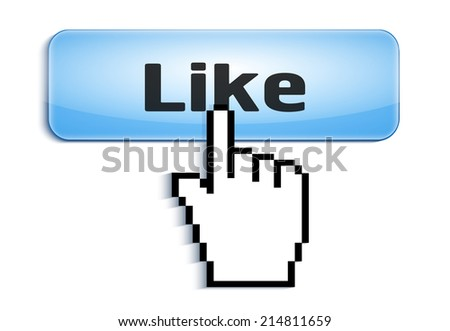 hand link selection computer mouse cursor pressing  glossy button with Like text isolated on white background - stock vector
