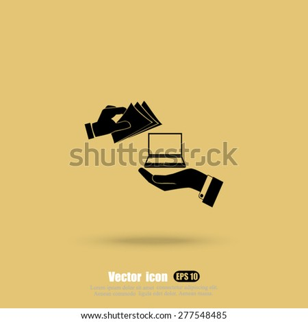 hand money and  computer vector icon - stock vector