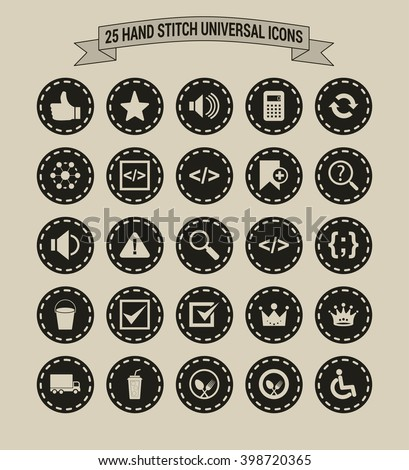 25 Hand Stitch Border Vintage background Universal icon set  - stock vector