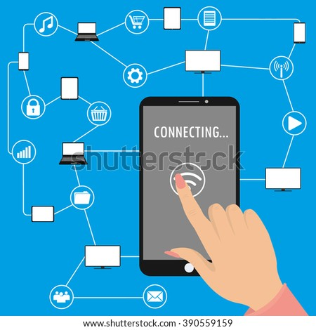 hand touches the screen,Conceptual picture of connection between gadgets, icons, networks.Flat Vector illustration - stock vector