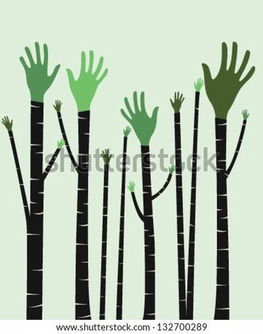 Hand tree. Vector illustration. - stock vector