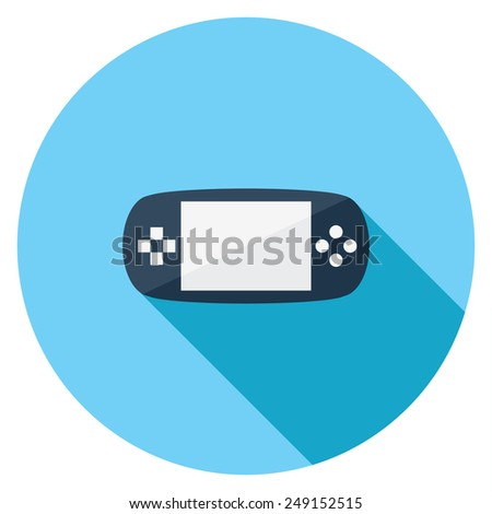Handheld console flat icon. Modern flat icons with long shadow effect in stylish colors. Icons for Web and Mobile Application. EPS 10. - stock vector