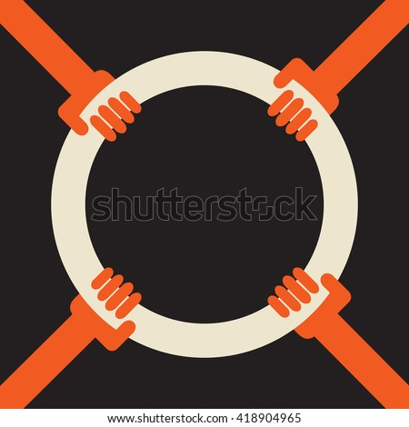 4 hands holding a hoop as a symbol of common target