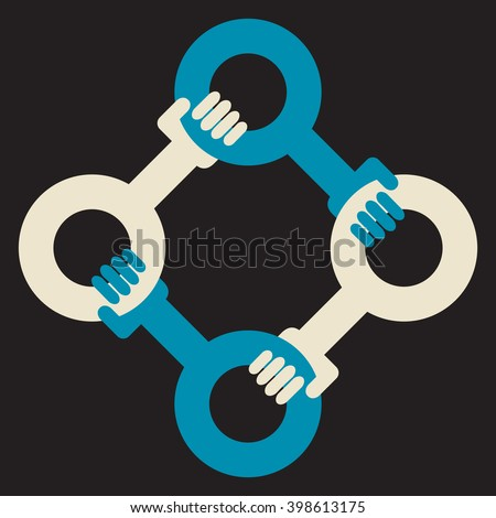 4 hands support group - stock vector