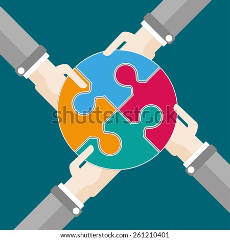 4 hands with circle puzzle. Eps 10 vector file. - stock vector