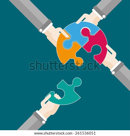4 hands with circle puzzle. Eps 10 vector file.