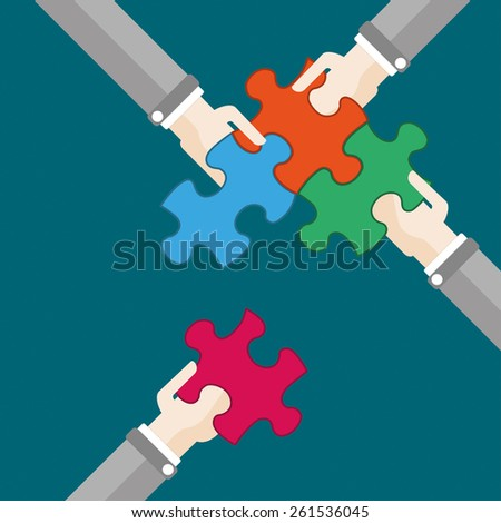 4 hands with puzzle pieces. Eps 10 vector file. - stock vector