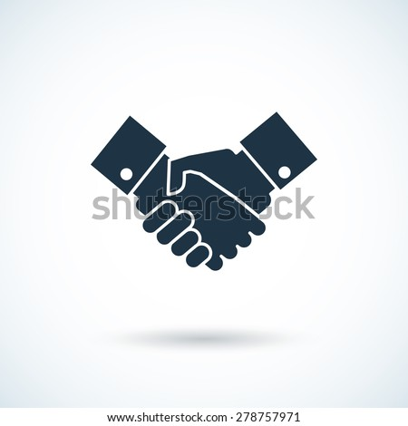 Handshake concept with suit sleeves black white shadow icon flat isolated vector illustration - stock vector