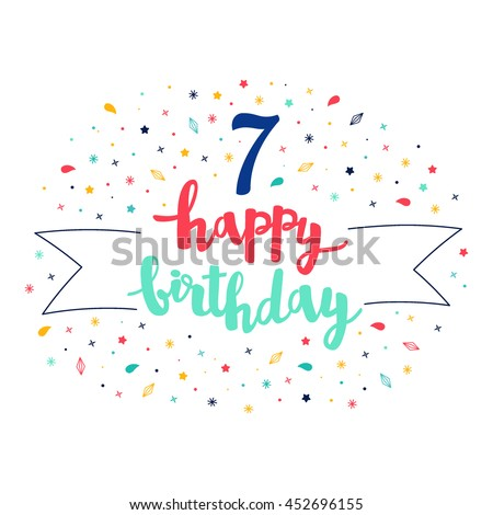 7 happy birthday lettering with tag and stars, crystals. Vector greeting card. Cute pattern