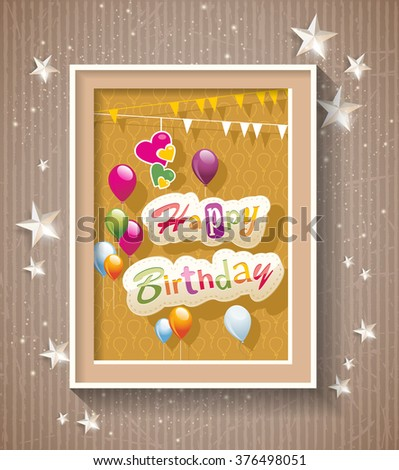 Happy Birthday text in frame on cardboard background - stock vector
