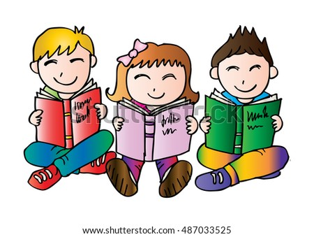 Happy Children Sitting while Reading Books