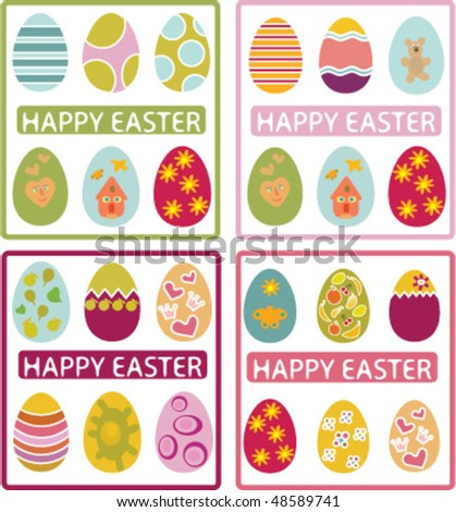 4 happy easter cards. vector