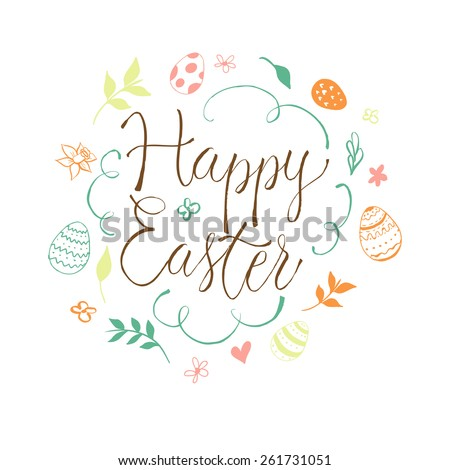 """Happy Easter"" doodle wreath with lettering. - stock vector"