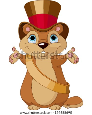 Happy groundhog on his day with mayor hat - stock vector