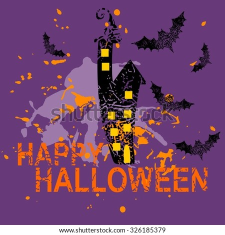 Happy halloween card with  house and bats