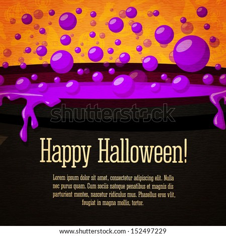 Happy halloween cute retro banner on the craft paper texture with black witch cauldron boiling the potion, with halloween greeting and place for your text. Vector. - stock vector