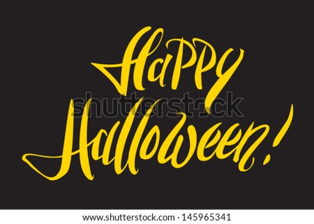 """Happy Halloween!"" hand lettering - stock vector"