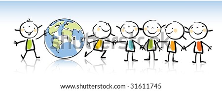 happy kids holding the globe vector illustration, kids drawing style. green world concept related - stock vector