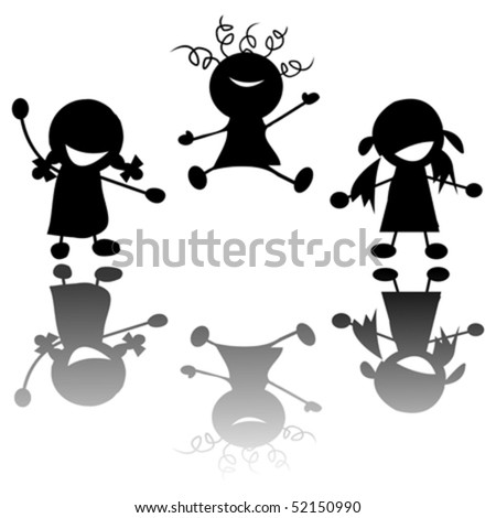happy little girls silhouettes over white background - stock vector