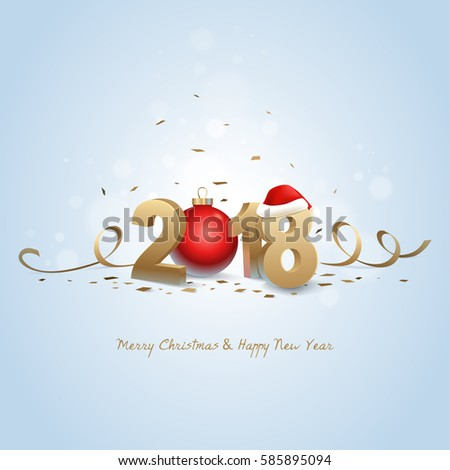 Happy New Year 2018 And Merry Christmas Golden 3D Numbers With Santa Hat Red