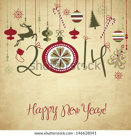 2014 Happy New Year background. - stock vector