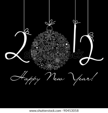 2012 Happy New Year background. Black and White background - stock vector