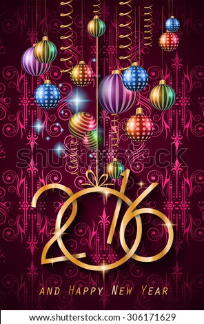 2016 Happy New Year Background for your Christmas dinner invitations, festive posters, restaurant menu cover, book cover,promotional depliant, Elegant greetings cards and so on. - stock vector