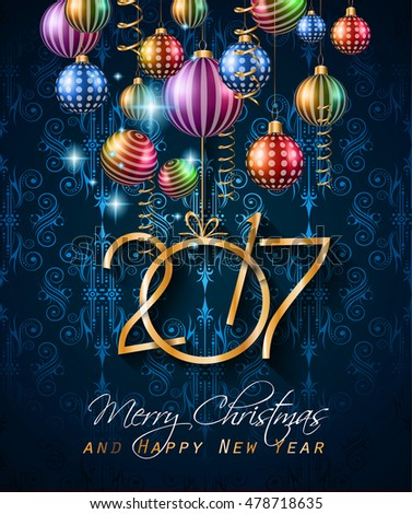 2017 Happy New Year Background for your Flyers and Greetings Card. Ideal for Poster, covers and invitations.