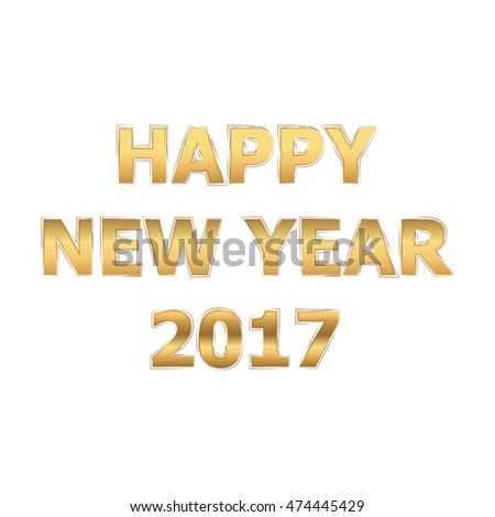 2017 Happy New Year background. Gold Glitter Lettering. Vector Illustration