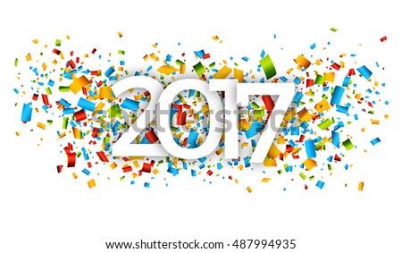 2017 Happy New Year Background with confetti background