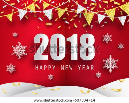 2018 happy new year background 3 d stock vector 687334714 shutterstock 2018 happy new year background with 3d paper snowflakes vector background greeting card with m4hsunfo