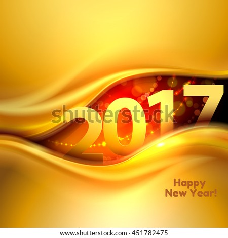 2017 Happy New Year background with gold wave. Vector illustration