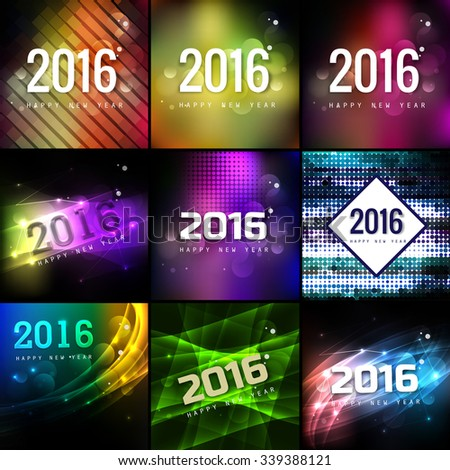 2016 Happy New Year beautiful collection holiday greeting card design - stock vector