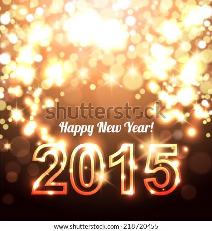 Happy New Year-Beautiful golden celebration background vector - stock vector
